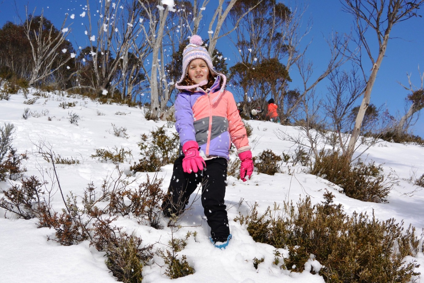 Thredbo throwing snow balls