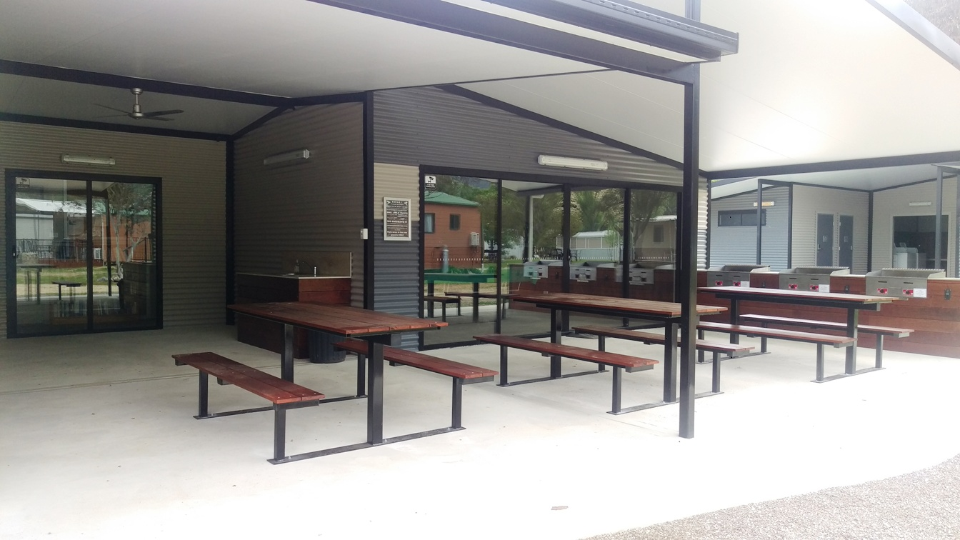 under cover bbq seating area